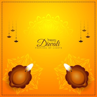 Fond de festival jaune vif happy diwali avec diya