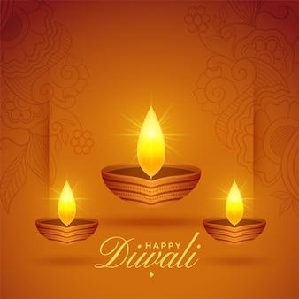 Fond de festival de lampes à huile diwali rougeoyant