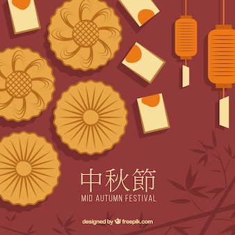 Fond de festival de mi-automne avec gâteau de lune