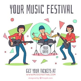 Fond de festival de musique avec un groupe jouant
