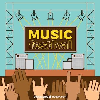 Fond de festival de musique avec scène