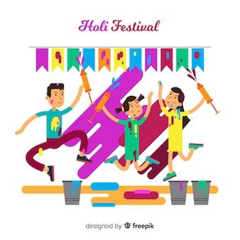 Fond de festival plat holi