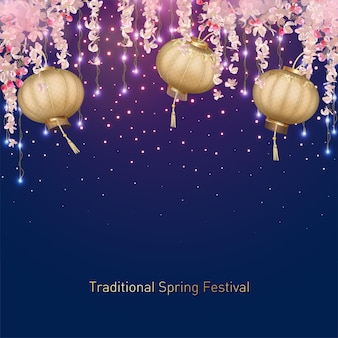 Fond de festival de printemps traditionnel avec des fleurs suspendues et des lanternes en soie. fond de nouvel an chinois