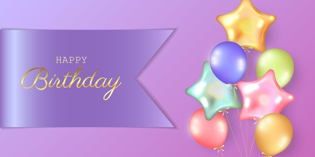Fond de fête d'anniversaire avec des ballons d'hélium.