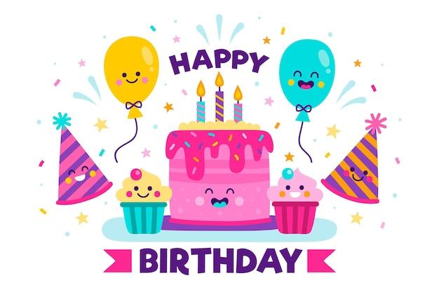Fond de fête d'anniversaire dessiné à la main avec un gâteau