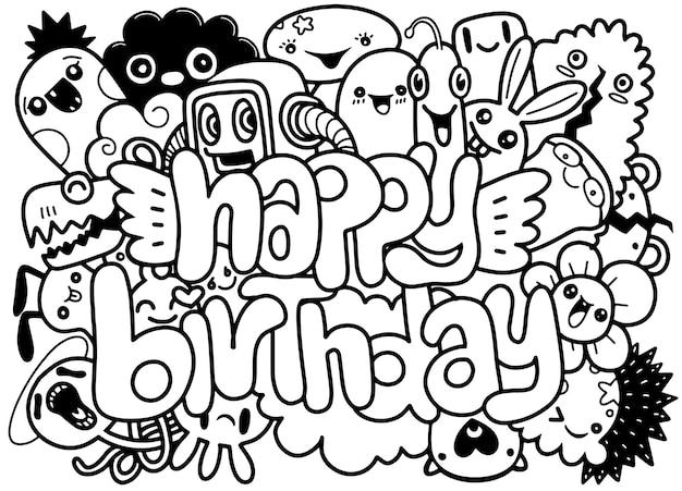 Fond de fête d'anniversaire dessinés à la main doodles fond d'éléments