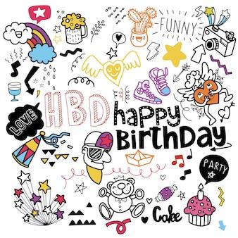 Fond de fête d'anniversaire de doodle, élément d'anniversaire dessiné à la main