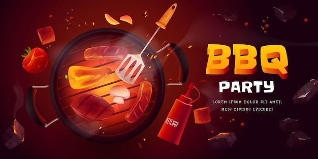 Fond de fête barbecue dessin animé