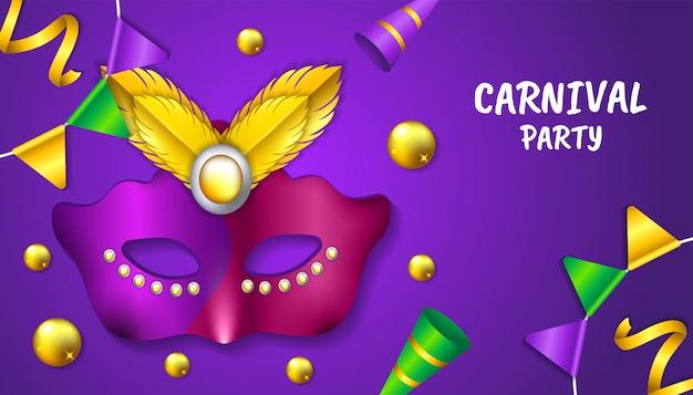 Fond de fête de carnaval avec masque réaliste, balles, plumes, trompette et drapeau