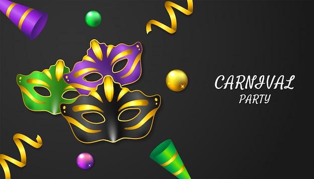 Fond de fête de carnaval avec masque réaliste, balles, ruban et trompette