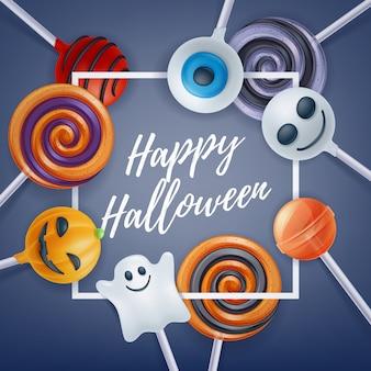Fond de fête coloré de bonbons d'halloween.