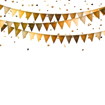 Fond de fête avec des drapeaux et des confettis