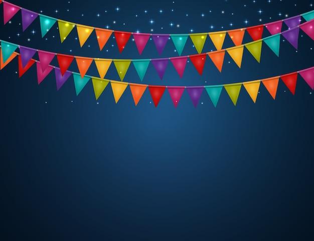 Fond de fête avec des drapeaux