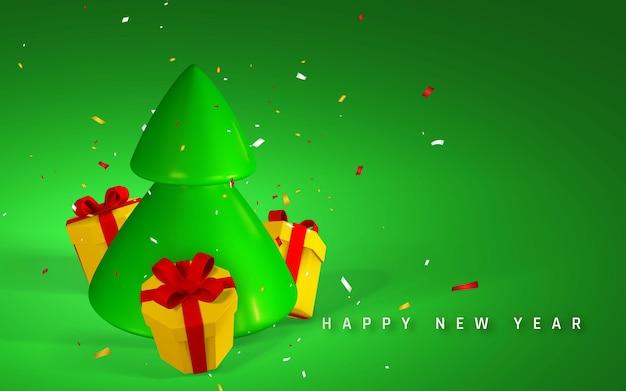 Fond de fête du nouvel an. rendu 3d et dessin par arbre de noël en maille avec des coffrets cadeaux et des confettis. illustration vectorielle.