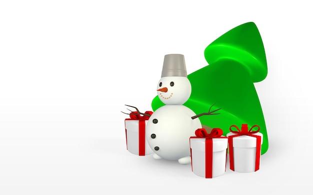 Fond de fête du nouvel an. rendu 3d et dessin par arbre de noël en maille avec des coffrets cadeaux. illustration vectorielle.