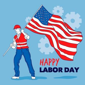 Fond de fête du travail dessiné à la main avec l'homme et le drapeau