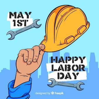 Fond de fête du travail dessiné à la main