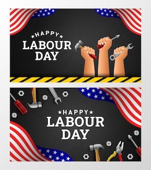Fond de fête du travail heureux avec le drapeau américain bande jaune et outils