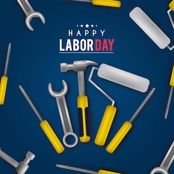 Fond de fête du travail réaliste avec des outils