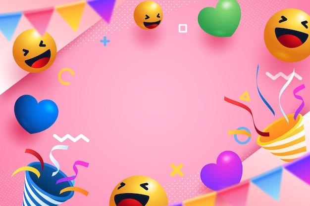 Fond de fête emoji réaliste