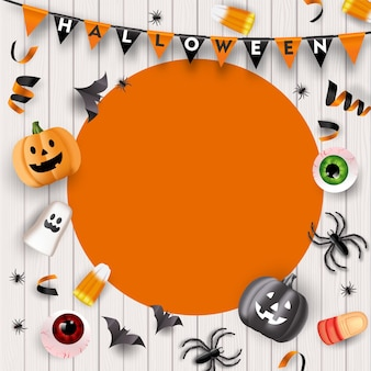 Fond De Fête D'halloween Avec Des Bonbons, Des Globes Oculaires, Des Araignées, Des Chauves-souris Et Des Citrouilles. Vecteur Vecteur Premium