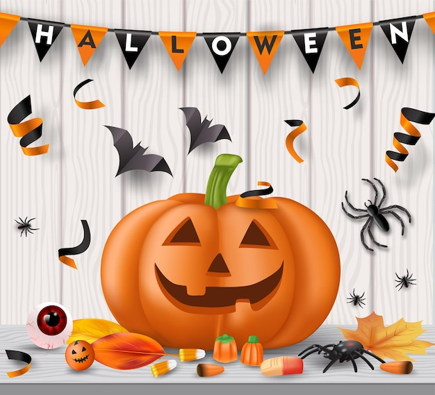 Fond de fête d'halloween avec des bonbons, des globes oculaires, des araignées, des chauves-souris et des citrouilles. vecteur