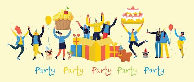 Fond de fête. heureux groupe de personnes sautant sur un fond clair. illustration dans un style plat
