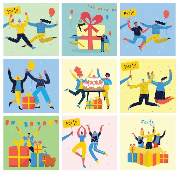 Fond de fête. heureux groupe de personnes sautant