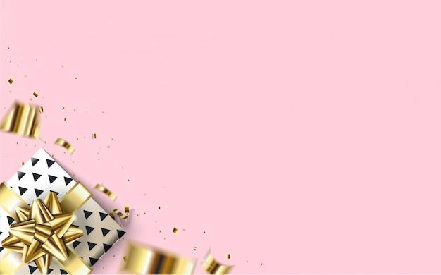 Fond de fête avec une illustration de boîte-cadeau dans le coin inférieur gauche avec un fond rose.