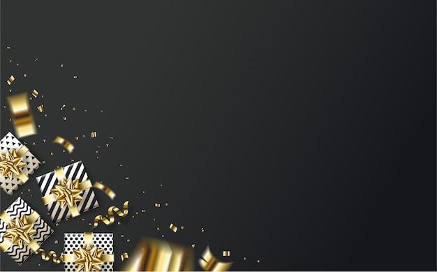 Fond de fête avec une illustration de boîte-cadeau dans le coin inférieur gauche et des morceaux de papier de couleur or sur fond noir.