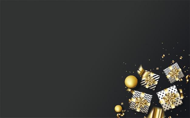 Fond de fête avec une illustration d'une boîte-cadeau et des morceaux de papier d'or sur fond noir.