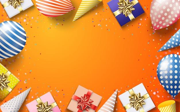Fond fête avec des illustrations colorées de ballons et de coffrets cadeaux chapeaux d'anniversaire 3d