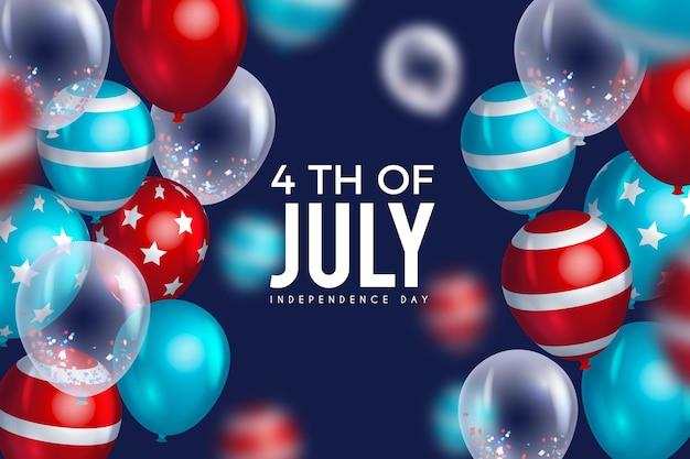 Fond de fête de l'indépendance des états-unis avec des ballons