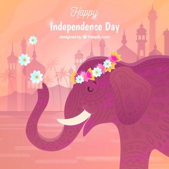 Fond de la fête de l'indépendance de l'inde avec l'éléphant
