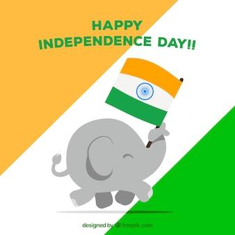 Fond de la fête de l'indépendance indienne avec éléphant mignon