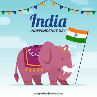 Fond de la fête de l'indépendance indienne avec éléphant