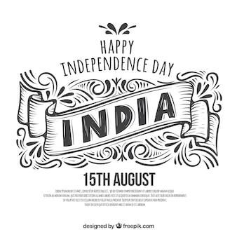 Fond de fête de l'indépendance indienne noir et blanc dessinés à la main