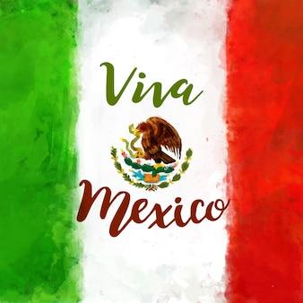 Fond de fête de l'indépendance mexicaine aquarelle