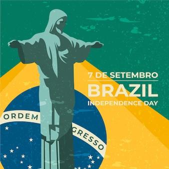 Fond de fête de l'indépendance vintage du brésil