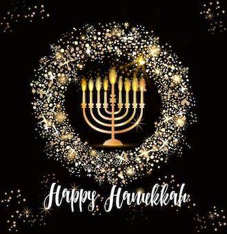 Fond de fête juive de hanoukka, candélabre traditionnel menorah réaliste, bougies allumées, effet bokeh.