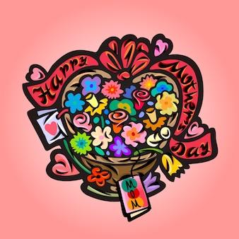 Fond de la fête des mères avec bouquet