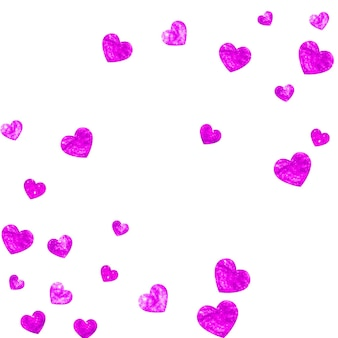 Fond de fête des mères avec des confettis de paillettes roses. symbole de coeur isolé en couleur rose. carte postale pour la fête des mères. thème d'amour pour affiche, certificat-cadeau, bannière. modèle de vacances pour femmes