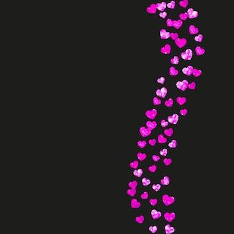 Fond de fête des mères avec des confettis de paillettes roses. symbole de coeur isolé en couleur rose. carte postale pour la fête des mères. thème d'amour pour l'invitation à la fête, l'offre de vente au détail et la publicité. modèle de vacances pour femmes