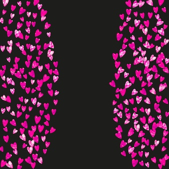 Fond de fête des mères avec des confettis de paillettes roses. symbole de coeur isolé en couleur rose. carte postale pour le fond de la fête des mères. thème d'amour pour les bons-cadeaux, les bons, les annonces, les événements. vacances femmes