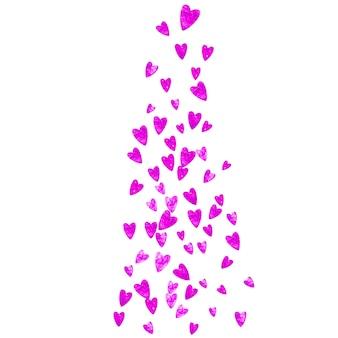 Fond de fête des mères avec des confettis de paillettes roses. symbole de coeur isolé en couleur rose. carte postale pour le fond de la fête des mères. thème d'amour pour flyer, offre commerciale spéciale, promo. vacances femmes