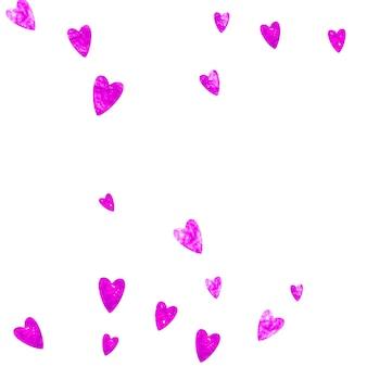 Fond de fête des mères avec des confettis de paillettes roses. symbole de coeur isolé en couleur rose. carte postale pour le fond de la fête des mères. thème d'amour pour l'invitation à la fête, l'offre de vente au détail et la publicité. conception de vacances pour femmes