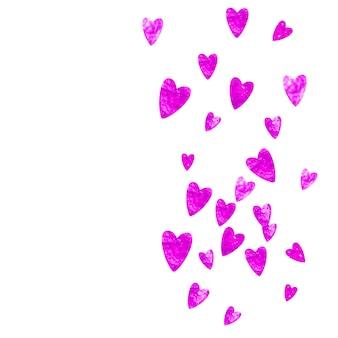 Fond de fête des mères avec des confettis de paillettes roses. symbole de coeur isolé en couleur rose. carte postale pour le fond de la fête des mères. thème d'amour pour l'invitation à la fête, l'offre de vente au détail et la publicité. vacances femmes