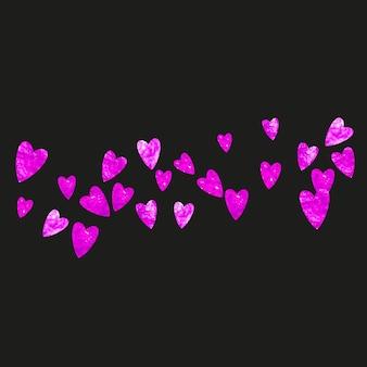 Fond de fête des mères avec des confettis de paillettes roses. symbole de coeur isolé en couleur rose. carte postale pour le fond de la fête des mères. thème d'amour pour offre commerciale spéciale, bannière, flyer. conception de vacances pour femmes