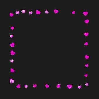 Fond de fête des mères avec des confettis de paillettes roses. symbole de coeur isolé en couleur rose. carte postale pour le fond de la fête des mères. thème d'amour pour offre commerciale spéciale, bannière, flyer. vacances femmes