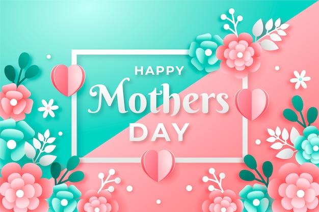 Fond de fête des mères design plat avec des fleurs